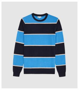 Reiss Pete - Striped Crew Neck Jumper in Blue, Mens, Size XXL