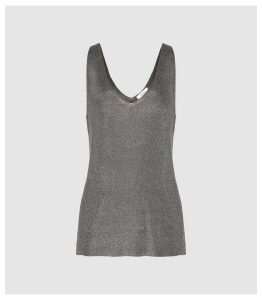 Reiss Alexis - Metallic Knitted Top in Charcoal, Womens, Size XXL