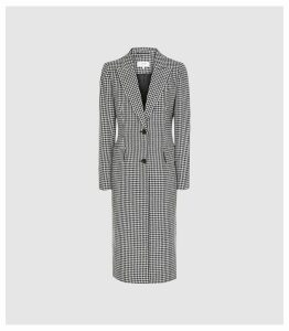 Reiss Lara - Puppytooth Overcoat in Monochrome, Womens, Size 14
