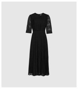 Reiss Paolo - Short Sleeve Jacquard Pleat Dress in Black, Womens, Size 16
