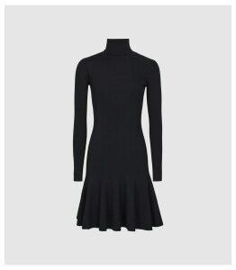 Reiss Mimi - Knitted Flippy Hem Dress in Navy, Womens, Size XL
