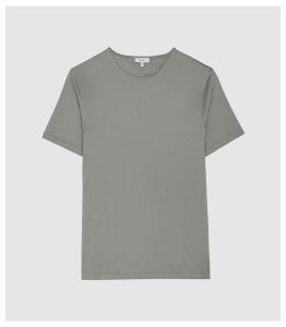 Reiss Balham - Mercerised Crew Neck T-shirt in Dark Sage, Mens, Size XXL