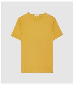 Reiss Balham - Mercerised Crew Neck T-shirt in Mustard, Mens, Size XXL