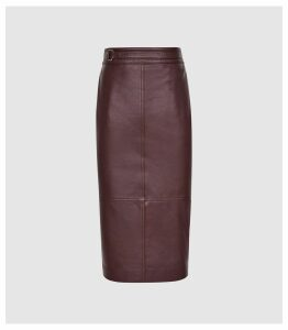 Reiss Kai - Leather Pencil Skirt in Pomegranate, Womens, Size 14