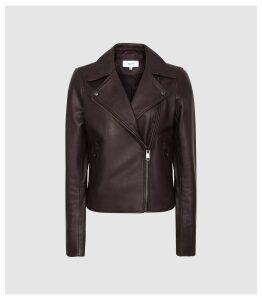 Reiss Geo - Leather Biker Jacket in Oxblood, Womens, Size 14