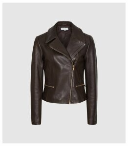 Reiss Shae - Leather Biker Jacket in Chocolate, Womens, Size 14