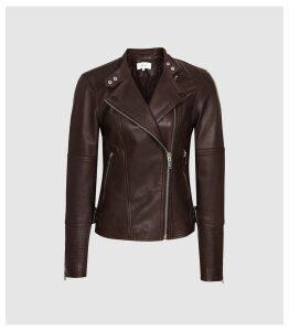 Reiss Tallis - Leather Biker Jacket in Plum, Womens, Size 14