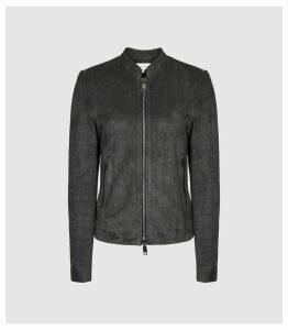 Reiss Allie - Suede Biker Jacket in Charcoal, Womens, Size 14