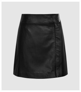 Reiss Maxwell - Leather Wrap Front Mini Skirt in Black, Womens, Size 14