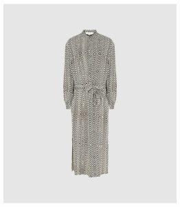 Reiss Mellie - Bead Print Midi Dress in Neutral, Womens, Size 16