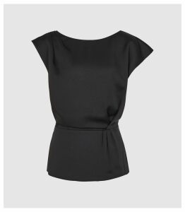 Reiss Dani - Capped Sleeve Top in Black, Womens, Size 16