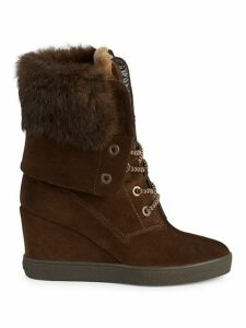 Rabbit Fur Trimmed Shearling Lined Wedge Boots