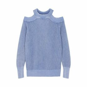 Free People Half Moon Bay Blue Cotton Jumper