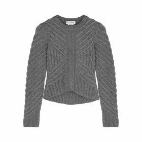 Alexander McQueen Grey Ribbed Wool-blend Jumper