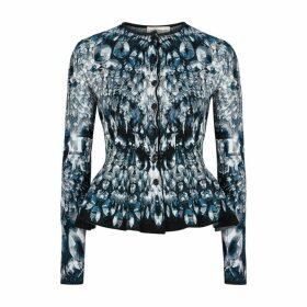 Alexander McQueen Crystal-jacquard Stretch-knit Cardigan