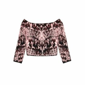 Alexander McQueen Crystal-jacquard Off-the-shoulder Stretch-knit Top