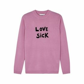 BELLA FREUD Love Sick Pink Wool Jumper