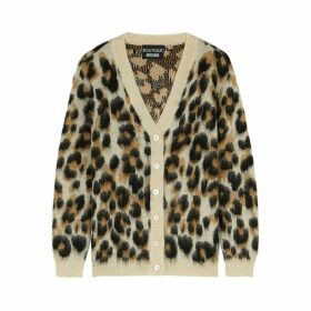 Boutique Moschino Leopard-intarsia Knitted Cardigan