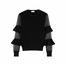 RED Valentino Black Stretch-knit And Point D'esprit Jumper