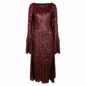 Paula Knorr Red Cape-effect Sequin Midi Dress