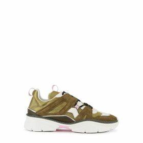 Isabel Marant Kindsay Metallic Olive Mesh Sneakers