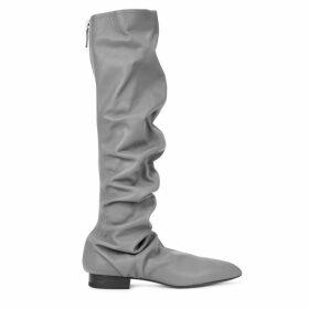 Jil Sander Grey 30 Leather Knee-high Boots