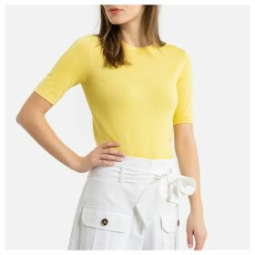 Fine Knit Jumper with Short Sleeves and Crew-Neck