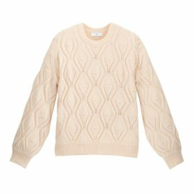 Chunky Pointelle Knit Jumper with Crew Neck and Balloon Sleeves