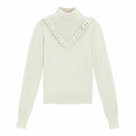 Ruffled High Neck Jumper in Fine Pointelle Knit