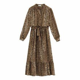 Leopard Print Midi Dress with Ruffles and Tie-Waist