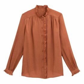 Jacquard Ruffled Collar Shirt