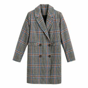 Double-Breasted Boyfriend Coat in Checked Print