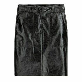 Short Straight Vinyl Skirt