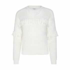 Dina Cotton Fringed Jumper with Round Neck