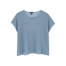 EILEEN FISHER Blue Fine-knit Linen-blend Top