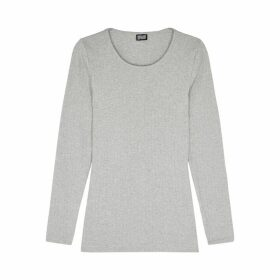 MADS NORGAARD Grey Ribbed Cotton Top