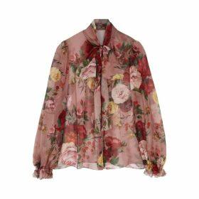 Dolce & Gabbana Floral-print Silk Chiffon Blouse