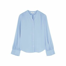 Vince Sky Blue Stretch-silk Blouse