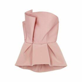 Azzi & Osta Pink Peplum Satin Top