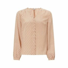 Jigsaw Grid Daisy Buttoned Top