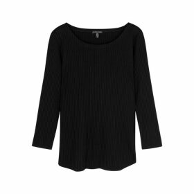 EILEEN FISHER Black Ribbed Jersey Top