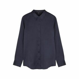 EILEEN FISHER Navy Brushed Silk Shirt