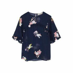Preen Line Blake Navy Floral-print Chiffon Top