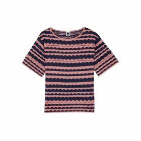 M Missoni Pink Scalloped Fine-knit Top