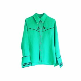 Florence Bridge Embroidered Cowboy Shirt (jade Green)