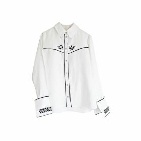 Florence Bridge Embroidered Cowboy Shirt (white)