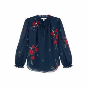 Joie Rafaella Navy Floral-print Silk Blouse