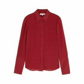 Frame Denim Red Printed Silk Shirt