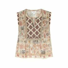 Velvet By Graham & Spencer Alurra Sand Embellished Chiffon Top