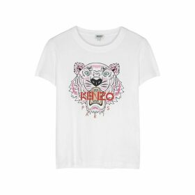 Kenzo White Tiger-print Cotton T-shirt